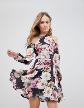 photo Cold Shoulder Floral Skater Dress by Jessica Wright, color Multi - Image 1