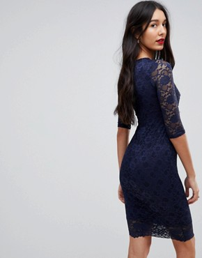 photo Cut Out Lace Midi Pencil Dress by Jessica Wright, color Navy - Image 2
