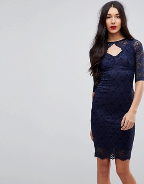 photo Cut Out Lace Midi Pencil Dress by Jessica Wright, color Navy - Image 1