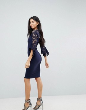 photo Midi Dress with Fluted Sleeve Detail by Jessica Wright, color Navy - Image 2