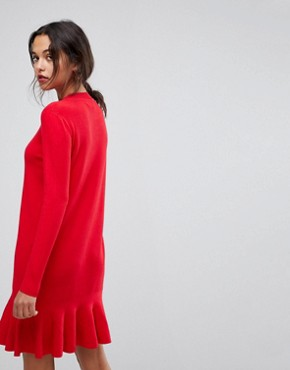photo Drop Waist Knitted Dress by Y.A.S, color Racing Red - Image 2