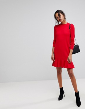 photo Drop Waist Knitted Dress by Y.A.S, color Racing Red - Image 4