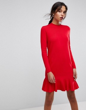 photo Drop Waist Knitted Dress by Y.A.S, color Racing Red - Image 1
