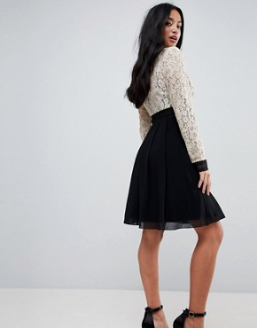 photo All Over Lace Top Dress with Prom Skater Skirt by Little Mistress Petite, color Cream/Black Multi - Image 2