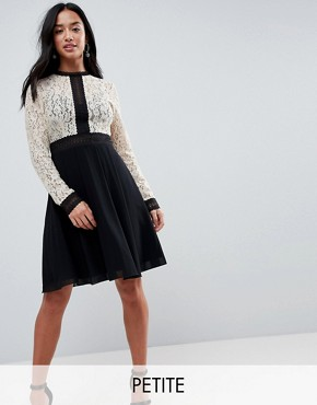 photo All Over Lace Top Dress with Prom Skater Skirt by Little Mistress Petite, color Cream/Black Multi - Image 1