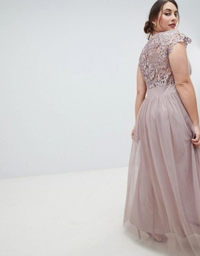 photo All Over Lace Scallop Back Plunge Front Maxi Dress by Little Mistress Plus, color Oyster - Image 2