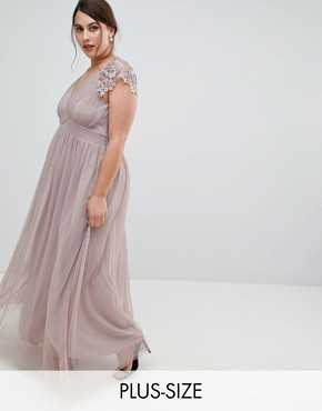 photo All Over Lace Scallop Back Plunge Front Maxi Dress by Little Mistress Plus, color Oyster - Image 1