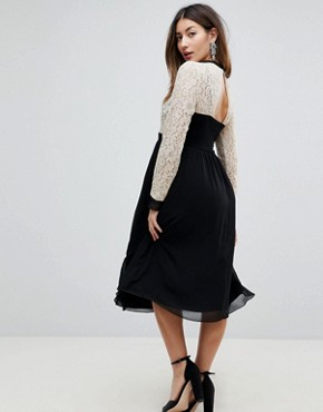 photo All Over Lace Top Dress with Prom Skater Skirt by Little Mistress Maternity, color Cream/Black Multi - Image 2