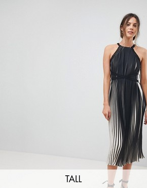 photo High Neck All Over Pleated Midi Dress by Little Mistress Tall, color Black - Image 1