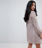 photo All Over Lace Smock Dress with Bell Sleeve Detail by Little Mistress Petite, color Oyster - Image 2