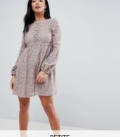 photo All Over Lace Smock Dress with Bell Sleeve Detail by Little Mistress Petite, color Oyster - Image 1