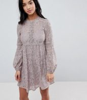 photo All Over Lace Smock Dress with Bell Sleeve Detail by Little Mistress Petite, color Oyster - Image 3