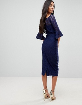 photo All Over Lace Bardot Midi Dress with Fluted Sleeve Detail by Little Mistress Tall, color Navy - Image 2