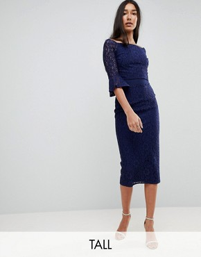 photo All Over Lace Bardot Midi Dress with Fluted Sleeve Detail by Little Mistress Tall, color Navy - Image 1