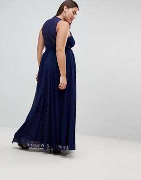 photo Maxi Dress with Embellishment by Little Mistress Plus, color Navy - Image 2