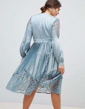photo Wrap Front Midi Dress with Lace Pleated Skirt by Little Mistress Plus, color Cornflower - Image 2