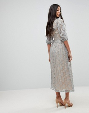 photo All Over Lace Maxi Dress with Balloon Sleeve Detail by Little Mistress Tall, color Waterlily - Image 2