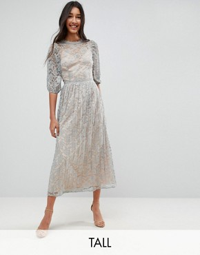 photo All Over Lace Maxi Dress with Balloon Sleeve Detail by Little Mistress Tall, color Waterlily - Image 1