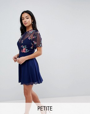 photo Embroidered Top Mini Skater Dress by Little Mistress Petite, color Navy - Image 1