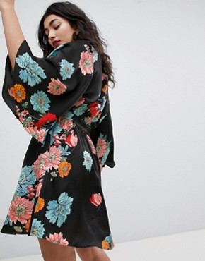 photo Layered Kimono Sleeve Dress in Print by RD & Koko, color Multi - Image 2