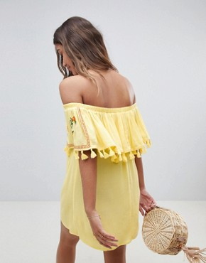 photo Fruit Embroidered Bandeau Beach Dress by ASOS, color Yellow - Image 2