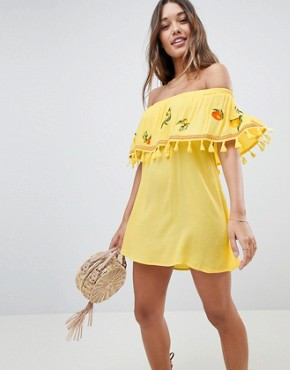photo Fruit Embroidered Bandeau Beach Dress by ASOS, color Yellow - Image 1