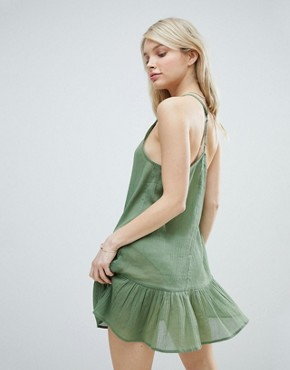 photo T Back Tiered Beach Sundress by ASOS, color Khaki - Image 2