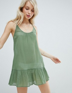 photo T Back Tiered Beach Sundress by ASOS, color Khaki - Image 1