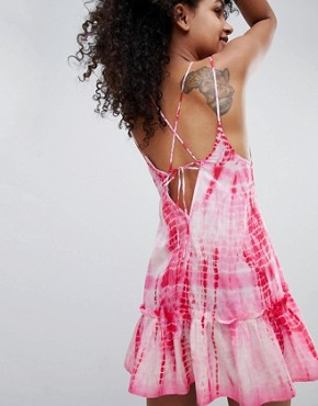 photo Tie Dye Tassel Trim Beach Dress by ASOS DESIGN, color Pink - Image 2