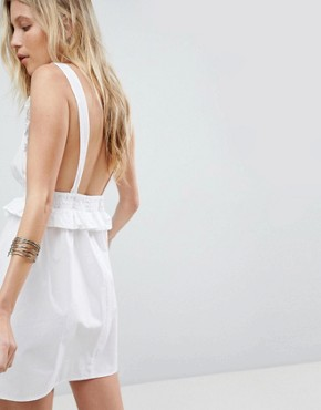 photo Frill Shirred Waist Beach Dress by ASOS, color White - Image 2