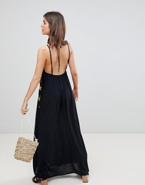 photo Fruit Embroidered Maxi Beach Dress by ASOS, color Black - Image 2