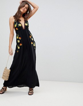 photo Fruit Embroidered Maxi Beach Dress by ASOS, color Black - Image 1
