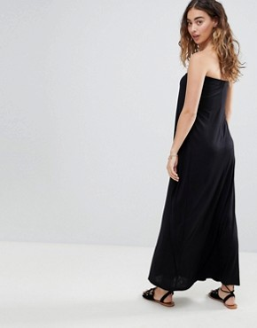 photo Layered Bandeau Jersey Maxi Beach Dress by ASOS, color Black - Image 2