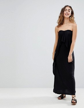photo Layered Bandeau Jersey Maxi Beach Dress by ASOS, color Black - Image 4