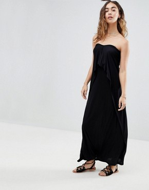 photo Layered Bandeau Jersey Maxi Beach Dress by ASOS, color Black - Image 1