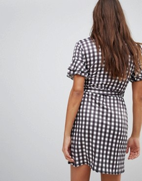 photo Gingham Print Wrap Dress by Lasula, color Gingham - Image 2