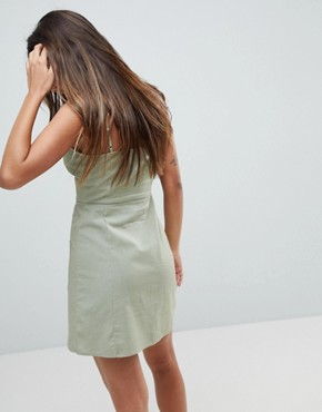 photo Button Through Linen Mini Sundress by ASOS, color Khaki - Image 2