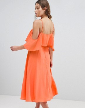 photo Ruffle Top Midi Dress by ASOS, color Apricot - Image 2