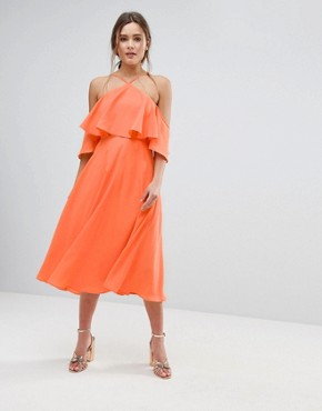 photo Ruffle Top Midi Dress by ASOS, color Apricot - Image 1