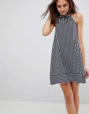 photo Halter Swing Sundress in Cut About Stripe by ASOS, color Navy/White - Image 1