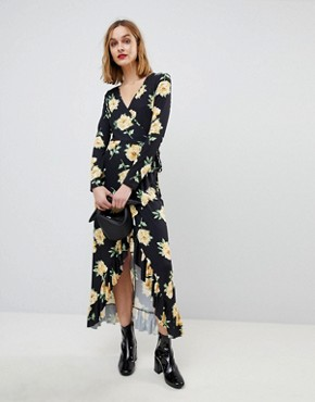 photo Maxi Wrap Dress in Large Bloom Print by ASOS, color Floral Print - Image 1