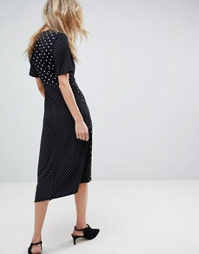 photo Midi Wrap Dress in Mixed Spot Print with Asymmetric Hem by ASOS, color Mono Polka Dot - Image 2