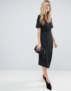 photo Midi Wrap Dress in Mixed Spot Print with Asymmetric Hem by ASOS, color Mono Polka Dot - Image 1
