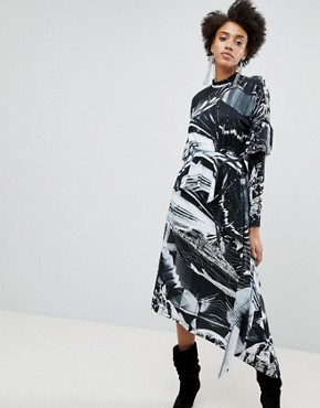 photo Printed Long Sleeve Hanky Hem Dress by ASOS x Star Wars, color Multi - Image 1