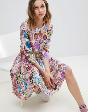 photo Enso Floral Pleat Dress by PS by Paul Smith, color Pink - Image 4