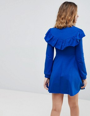 photo Sweat Skater Dress with Ruffle Front by ASOS PETITE, color Cobalt - Image 2