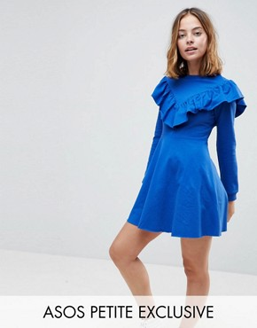 photo Sweat Skater Dress with Ruffle Front by ASOS PETITE, color Cobalt - Image 1