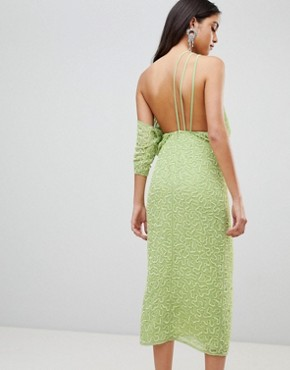 photo One Shoulder All Over Sequin Midi Dress by ASOS EDITION, color Lime Green - Image 2