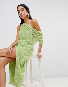 photo One Shoulder All Over Sequin Midi Dress by ASOS EDITION, color Lime Green - Image 1