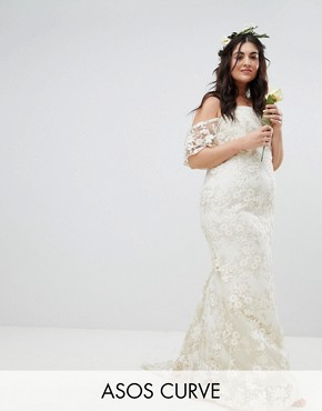 photo Floral Lace Bandeau Maxi Wedding Dress by ASOS EDITION Curve, color White - Image 1